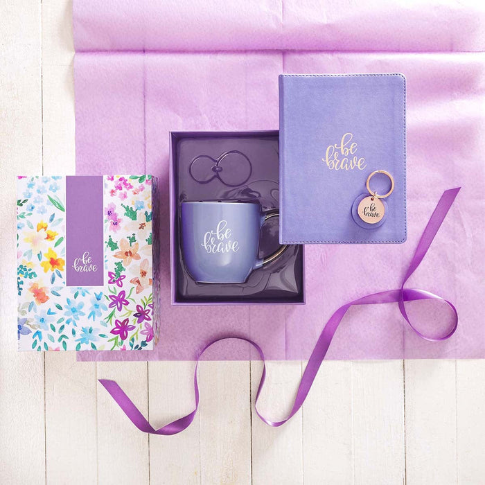 Purple Be Brave Journal, Mug and Keyring Boxed Gift Set for Women