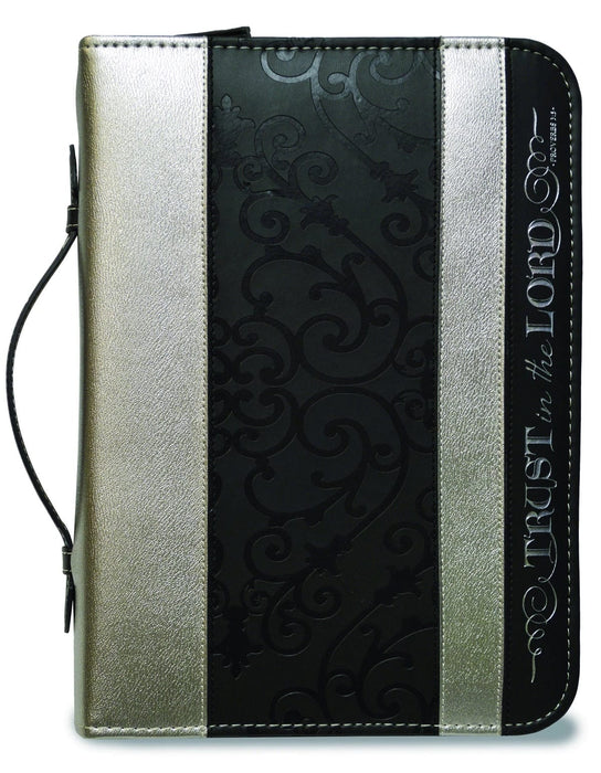 DIVINE DETAILS: BIBLE COVER BLACK AND SILVER TRUST IN THE LORD