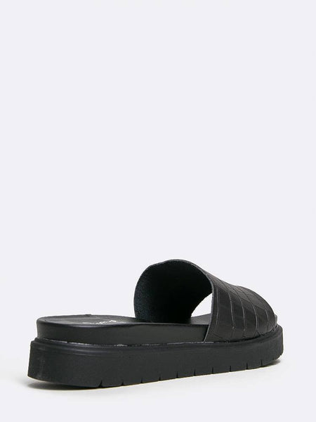 Qupid Harriet-01 - Black Croco PU