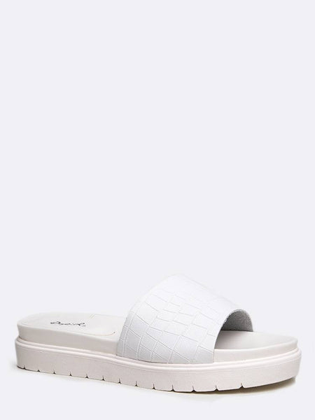 Qupid Harriet-01 - White Croco PU