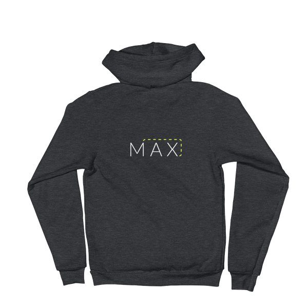 """MAX"" with Patch Cord: On American Apparel Zip-front Hoodie"