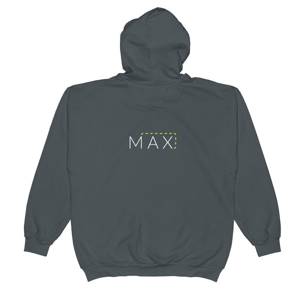 """MAX"" with Patch Cord: On Anvil Brand Full-Zip Hooded Sweatshirt"