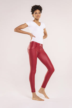 SKINNY FAUX LEATHER MID RISE RED
