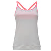 WHITE TANK TOP IN LIGHT D.I.W.O.® WITH PINK CROSSED STRAPS