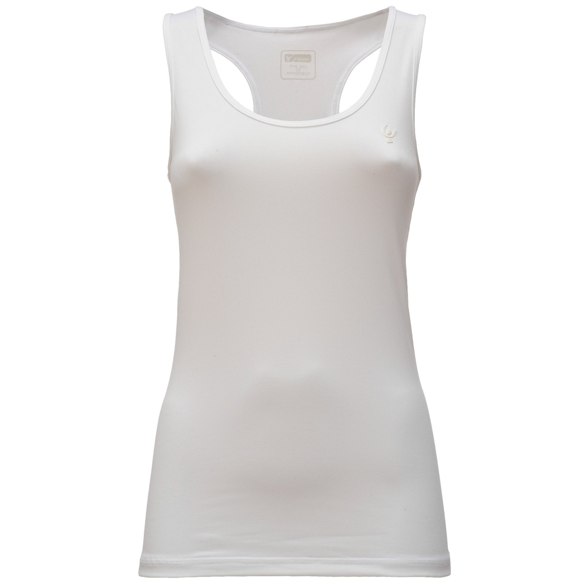 WHITE TANK TOP IN LIGHT D.I.W.O.® WITH CROSSED STRAPS