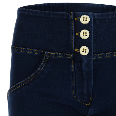 DARK DENIM YELLOW STITCH 3 BUTTONS REGULAR HIGH RISE