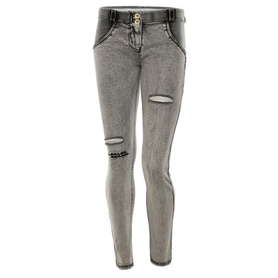 RIPPED GREY DENIM MID-RISE