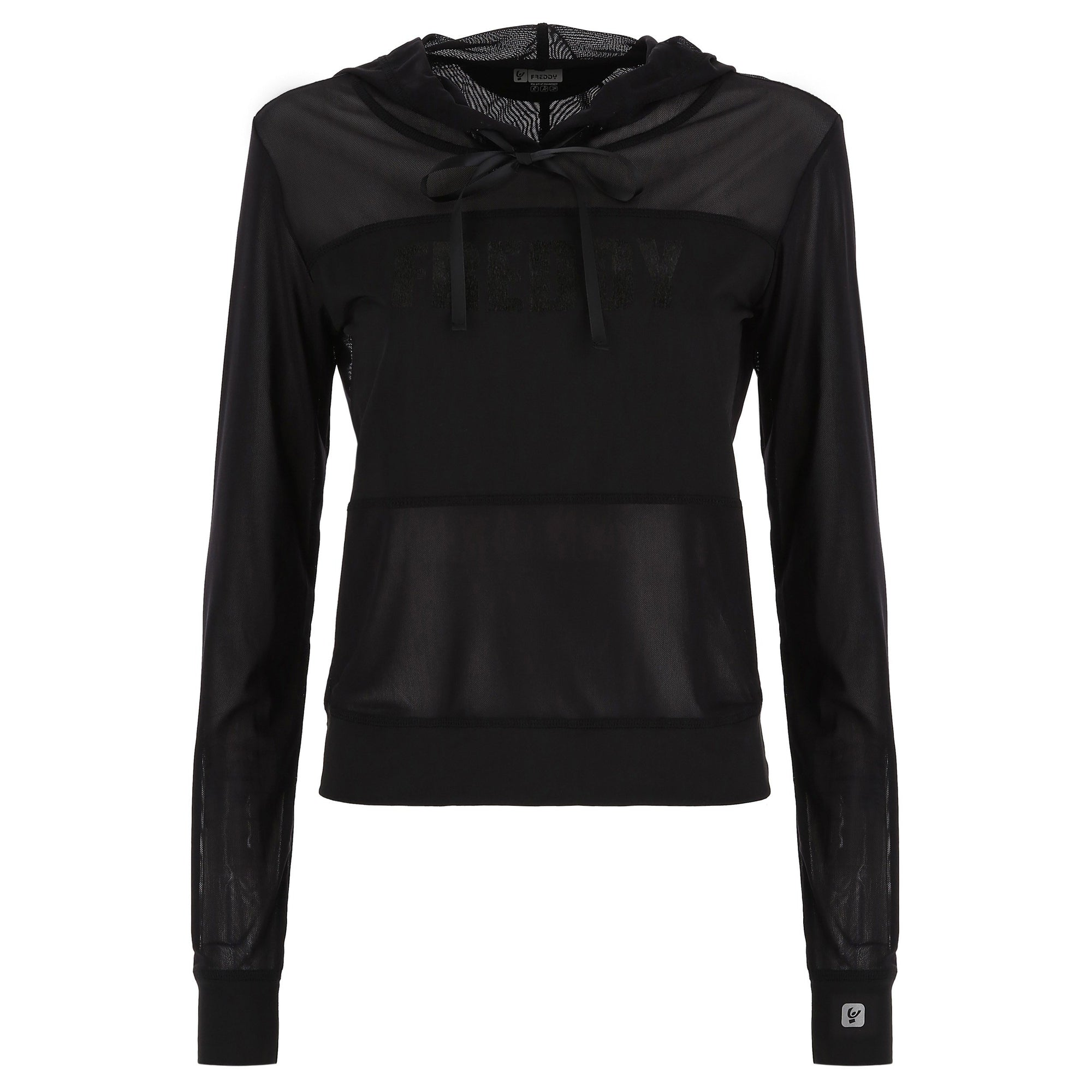 BLACK ACTIVE MESH LONG SLEEVE HOODED TSHIRT
