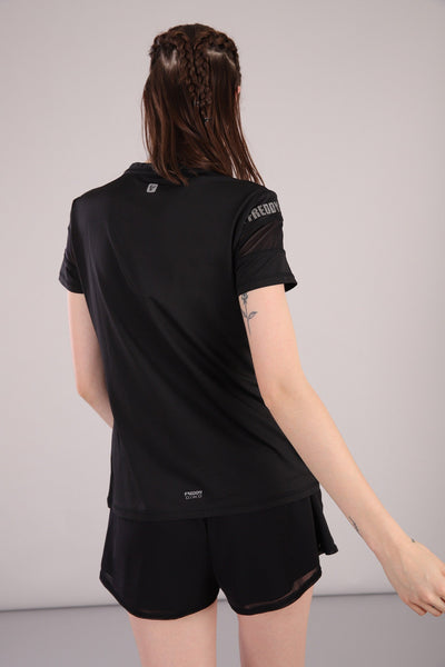 BLACK ACTIVE MESH SHORT SLEEVE TSHIRT
