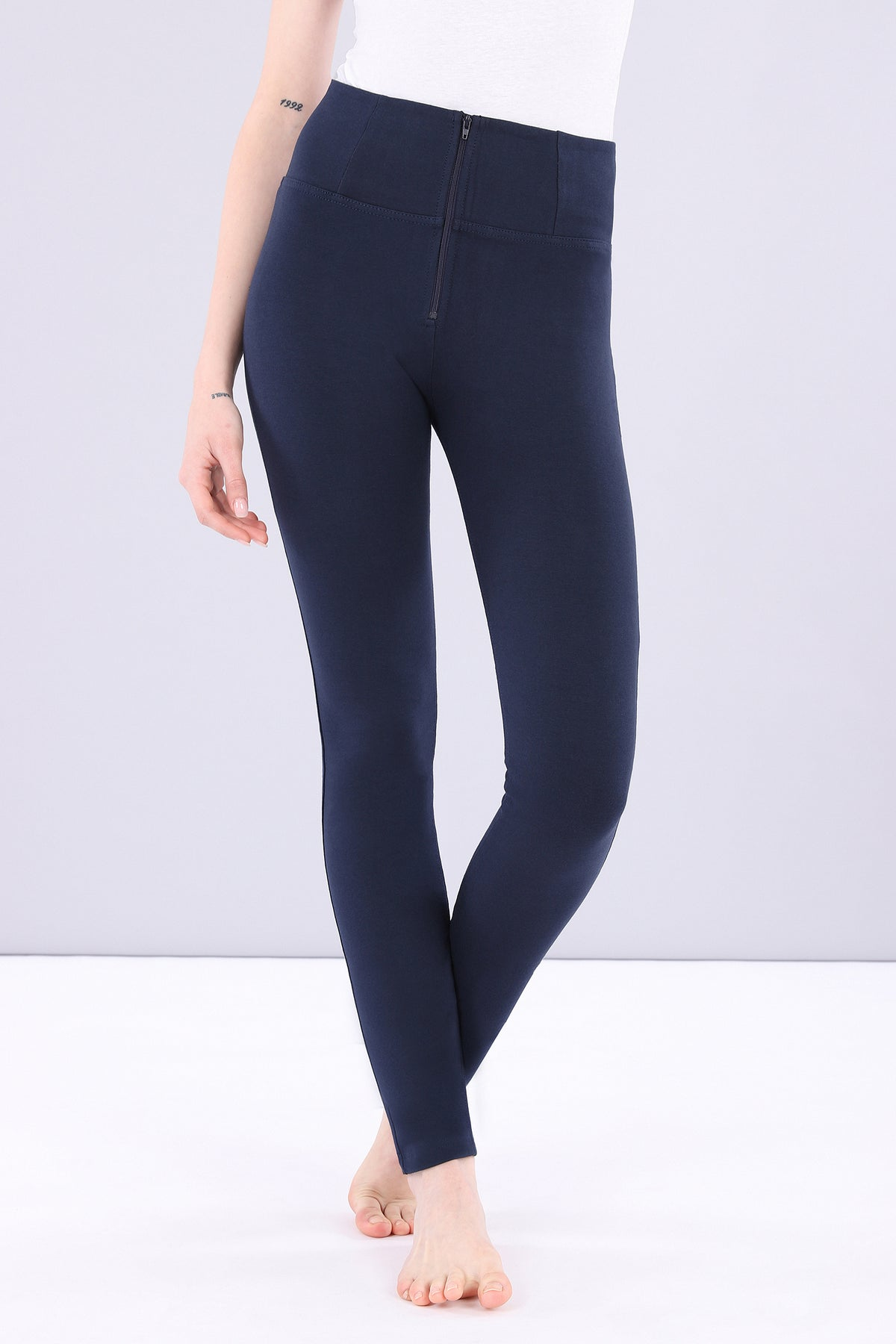 HIGH WAIST SKINNY NAVY SELF TONE ZIP
