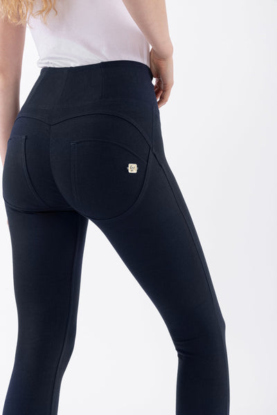 ANKLE LEG HIGH WAIST SKINNY NAVY SELF TONE ZIP
