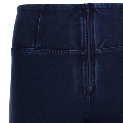 DARK DENIM BLUE STITCH HIGH RISE SELF TONE ZIP