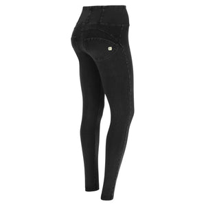 HIGH WAIST BLACK DENIM BLACK STITCH SELF TONE ZIP