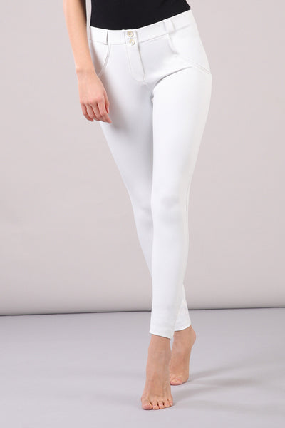 SKINNY FAUX LEATHER MID RISE WHITE
