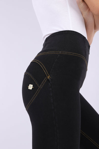 HIGH WAIST BLACK DENIM YELLOW STITCH SELF TONE ZIP