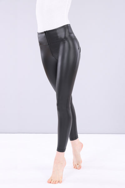 ANKLE LENGTH HIGH RISE SKINNY FAUX LEATHER SELF TONE ZIP