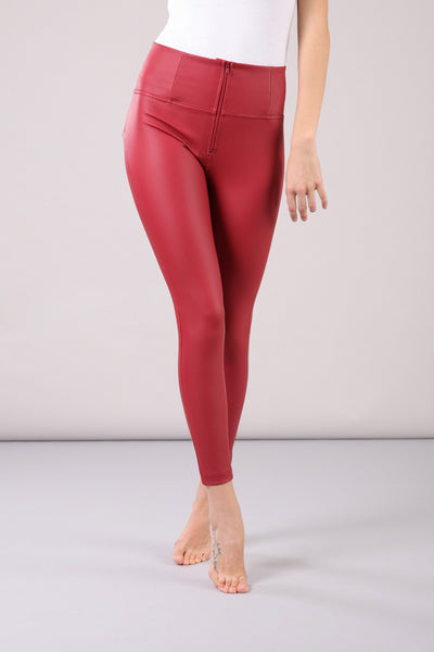 HIGH RISE SKINNY FAUX LEATHER RED
