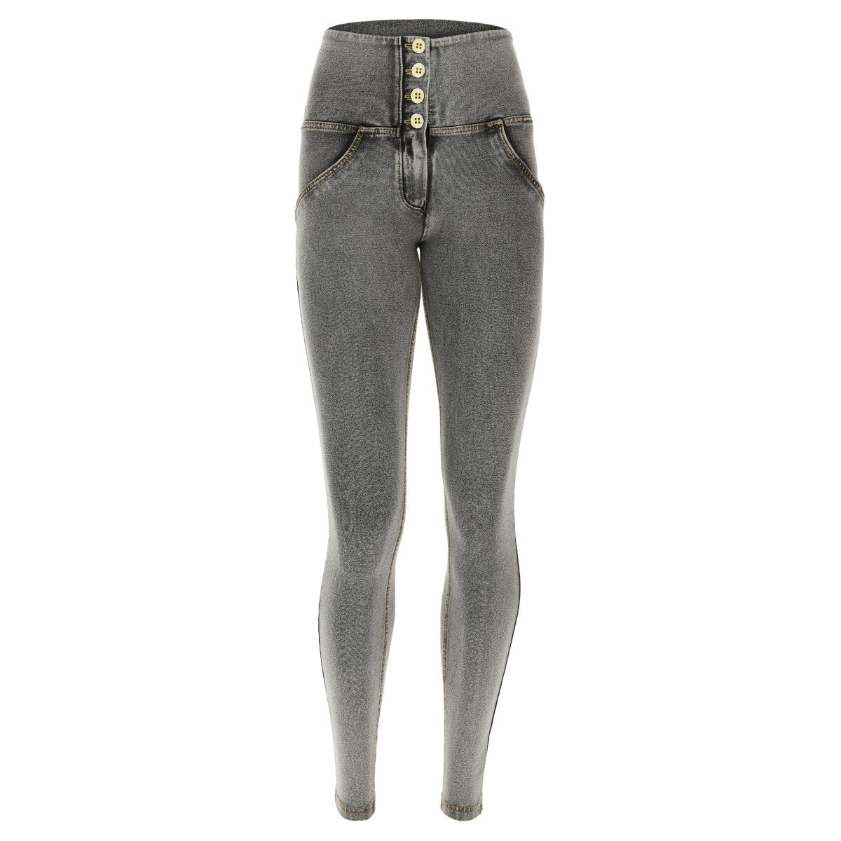 GREY DENIM 4 BUTTON HIGH RISE