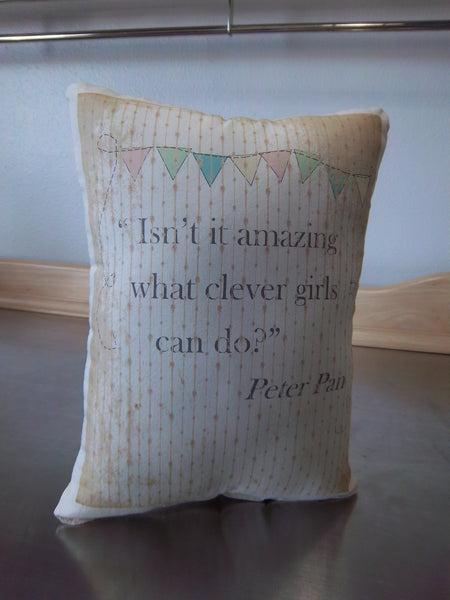 Girl gift pillow, Peter Pan cotton ornament, nursery home decor - Sweet Meadow Designs