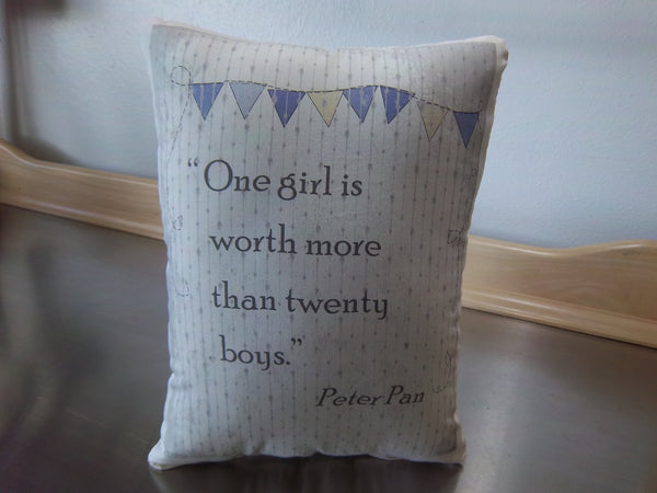 Purple pillow, Peter Pan book cushion, cotton quote ornament - Sweet Meadow Designs