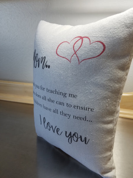 Mom keepsake pillow, sentimental mother gift, cotton quote ornament - Sweet Meadow Designs