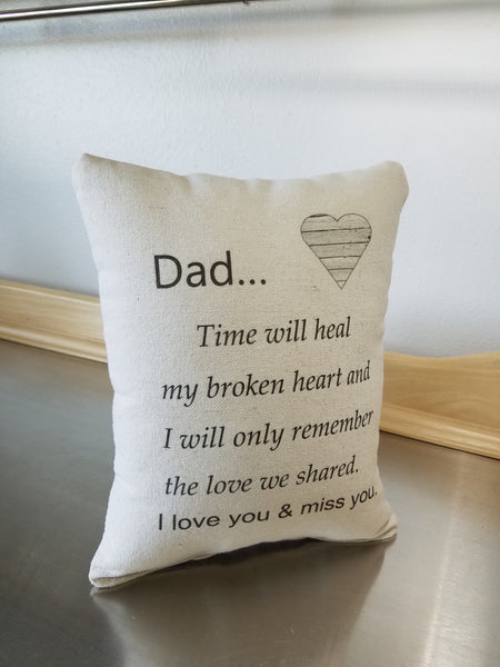 Throw pillow loss of dad sympathy gift father bereavement gift pillow keepsake