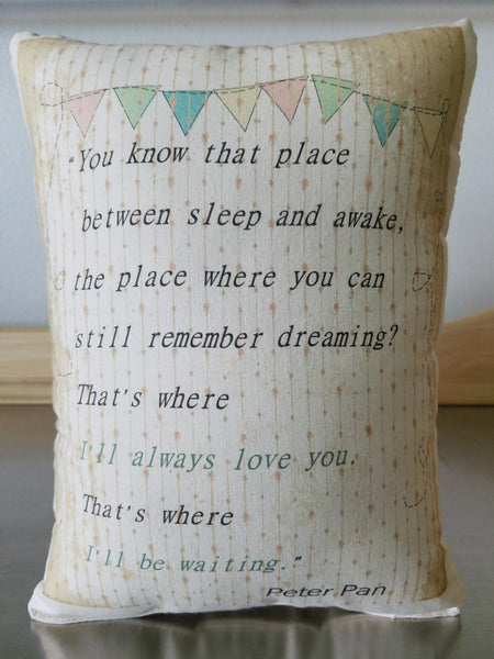 Baby room decor pillows new mom gift Peter Pan quote throw pillow