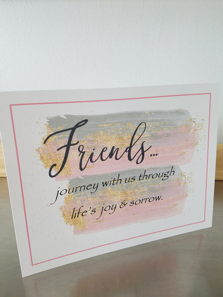 Friends art print, unframed 8 x 10 wall sign, paper gift - Sweet Meadow Designs