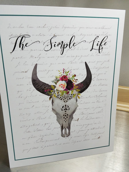 Cow art print, The Simple Life, unframed 8 x 10 paper wall sign - Sweet Meadow Designs