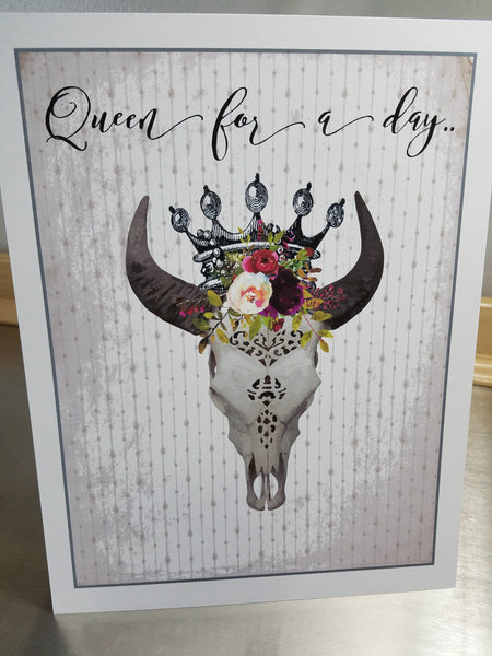 Quote art print, cow skull wall sign, unframed queen poster - Sweet Meadow Designs