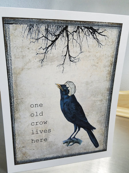 Crow art print, unframed bird wall sign, funny home decor - Sweet Meadow Designs