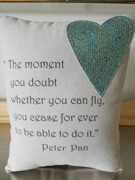 Peter Pan pillow, girl gifts, cotton quote cushion, apartment decor - Sweet Meadow Designs