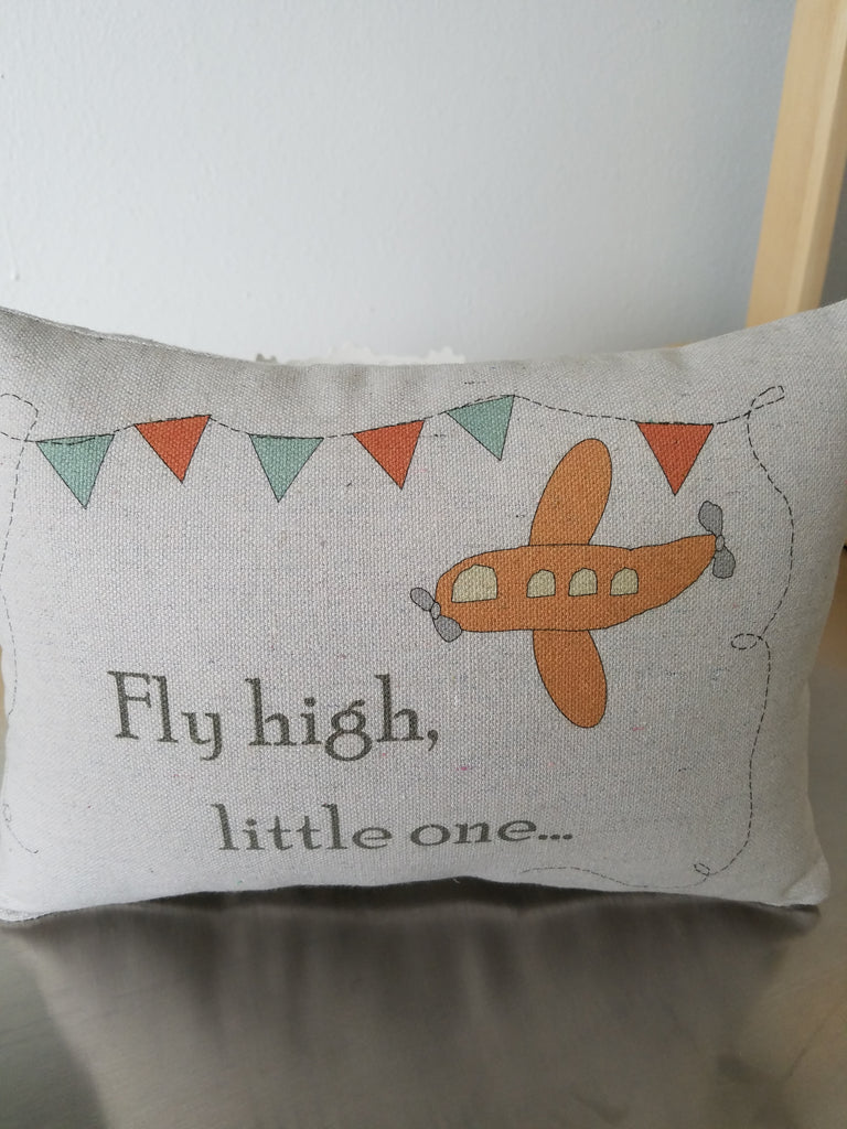 Airplane nursery cushion, cotton pillow, baby ornament - Sweet Meadow Designs