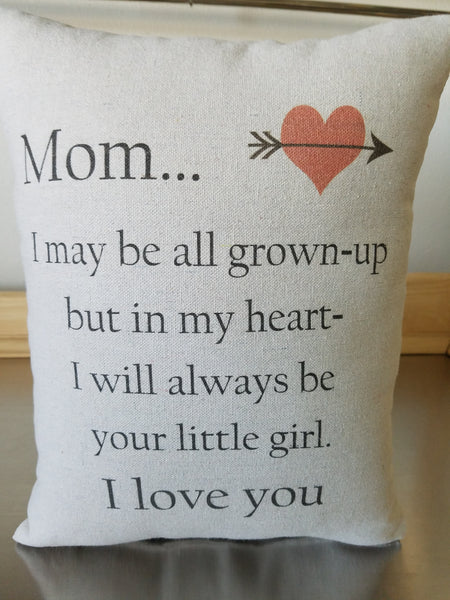 Mother gift pillow, missing mom cushion, long distance keepsake - Sweet Meadow Designs