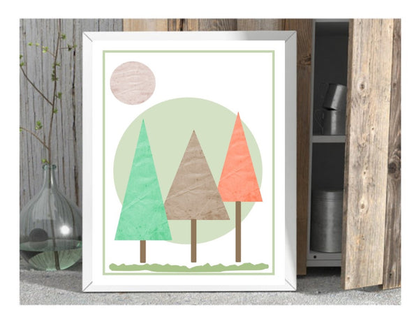 Kids print nursery wall art woodland playroom wall prints