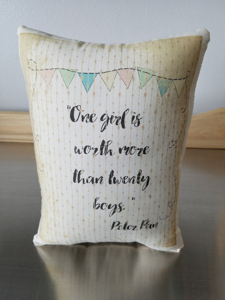 Peter Pan pillow, gift for girl, cotton ornament, JM Barrie quote cushion - Sweet Meadow Designs