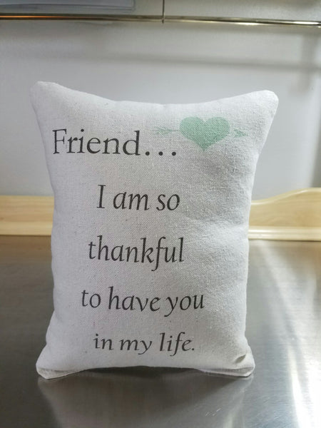 Friend quote pillow, bff  birthday gift, cotton cushion - Sweet Meadow Designs