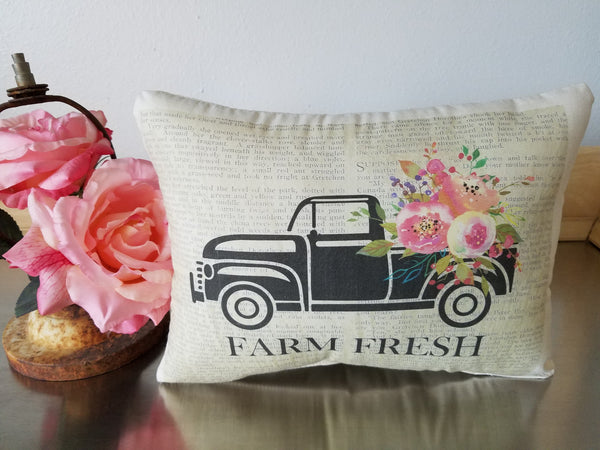 Farm cottage pillow, old pickup cushion, gift for housewarming - Sweet Meadow Designs