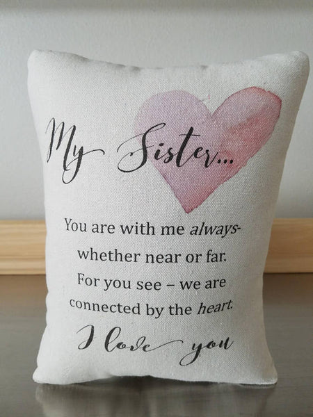 Sister ornament, long distance gift, cotton throw cushion - Sweet Meadow Designs
