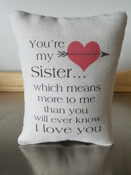 Sister pillow gift, cotton canvas ornament, quote cushion - Sweet Meadow Designs