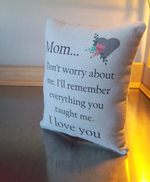 Mom birthday pillow mother gift  from son cotton canvas throw pillow