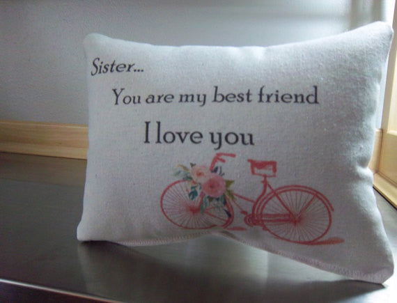 Sister ornament pillow, I love you sis, cotton keepsake - Sweet Meadow Designs