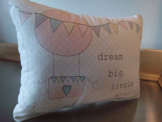 Pink balloon throw pillow baby shower gift girl pillow toddler bedroom decor