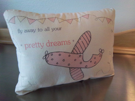 Baby girl nursery throw pillow pink airplane pillow newborn gift