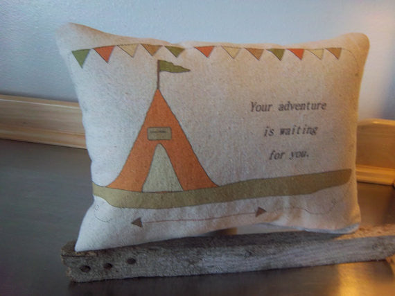 Kids pillow cotton throw pillow adventure decor birthday gift