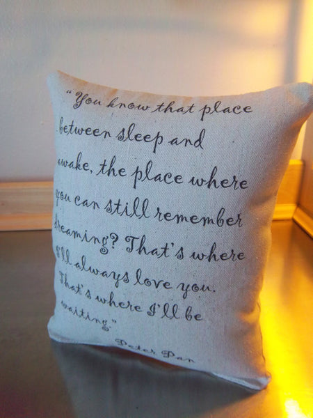 Memory gift, Peter Pan throw pillow, love quote ornament - Sweet Meadow Designs