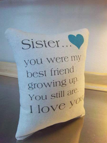 Sister gift pillow best sister gifts throw pillow cushion - Sweet Meadow Designs