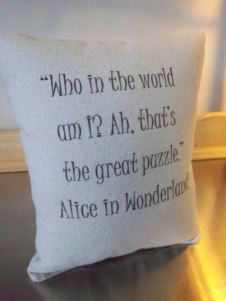 Alice in Wonderland throw pillow book pillow reading gift