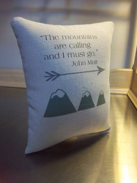 John Muir pillow, mountain gift, cotton ornament - Sweet Meadow Designs