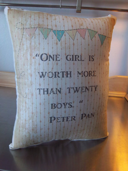 Peter Pan pillow girl room decor cotton throw pillow